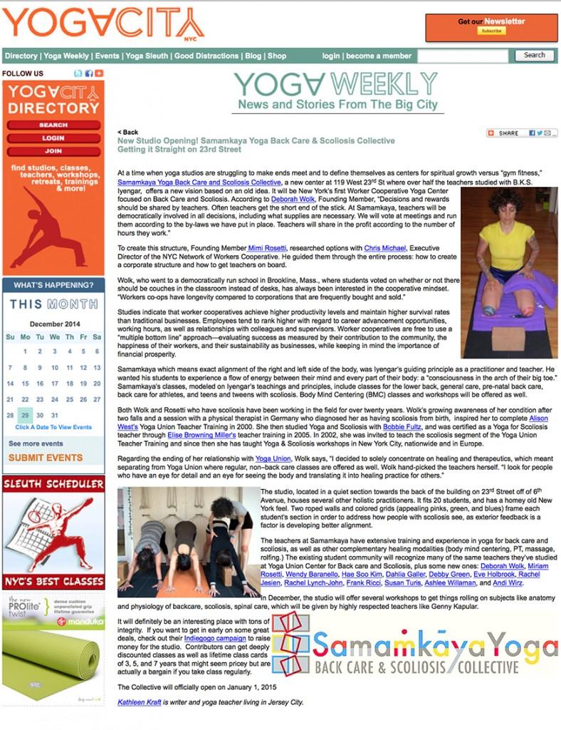YogaCity NYC Article